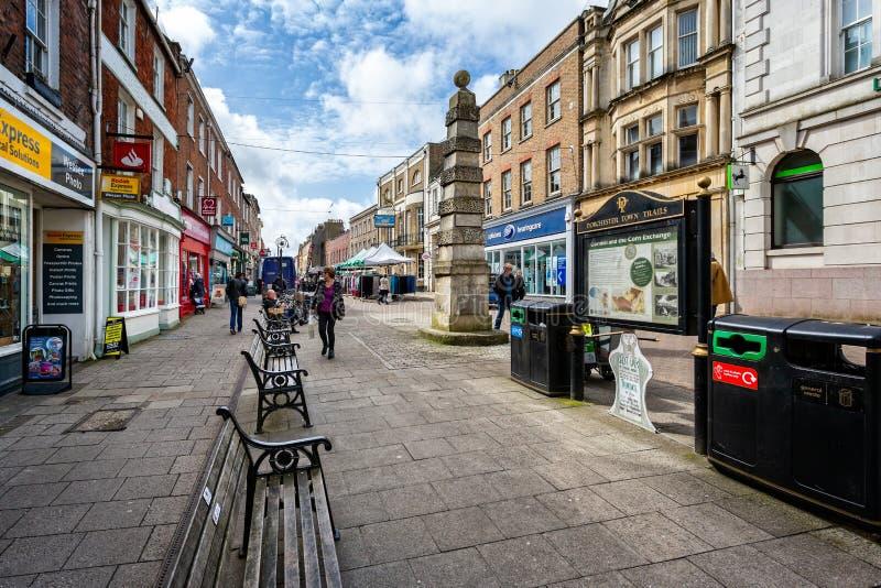 Cornhill voetdie slechts straat in Cornhill, Dorchester wordt genomen royalty-vrije stock afbeelding