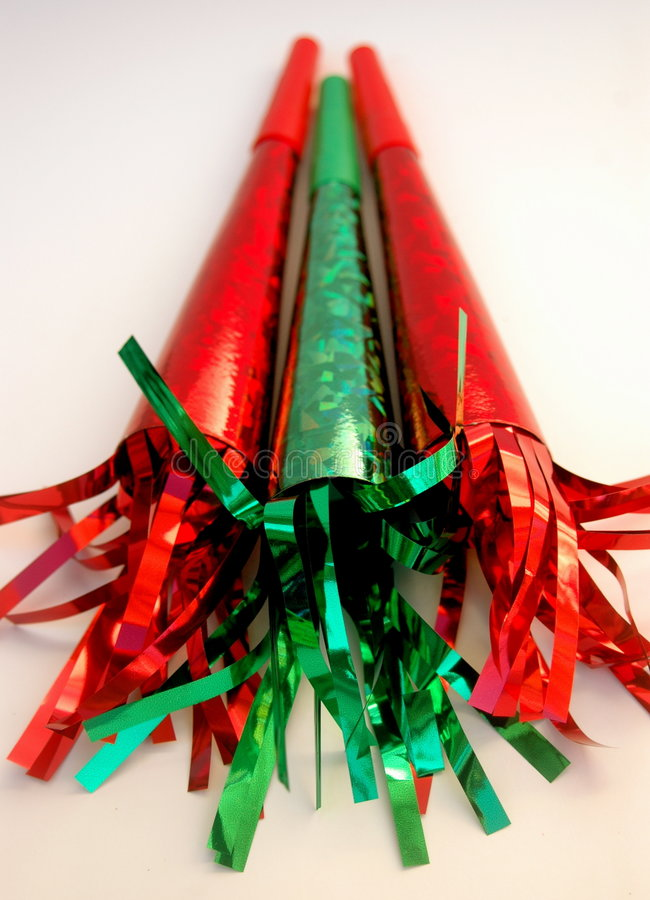 Corni del Partito Verde e di colore rosso fotografia stock libera da diritti