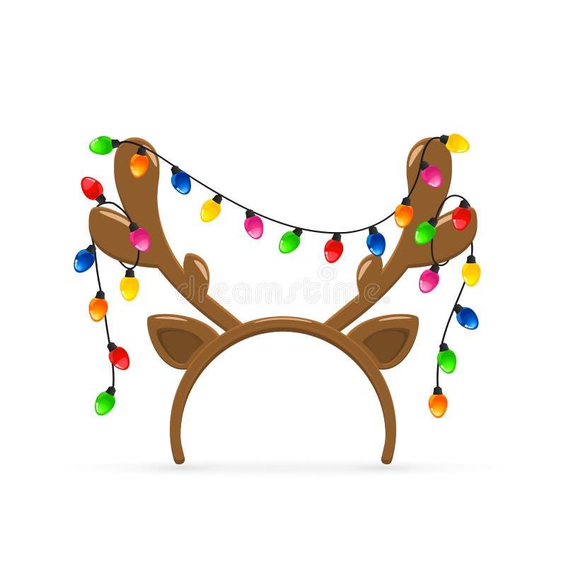Corni della renna con le luci di Natale su fondo bianco illustrazione di stock