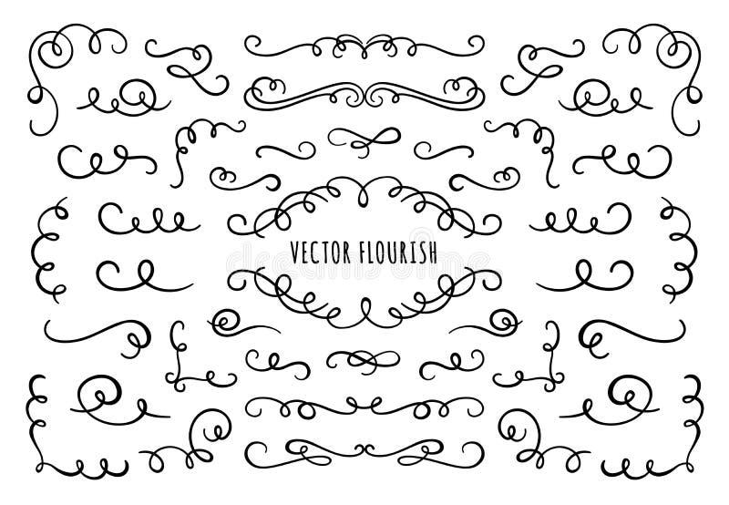Cornice, angoli e divisori in fiamme Angolo di fioritura decorativo, divisore calligrafico e vettoriale di scorrimento di ornata royalty illustrazione gratis