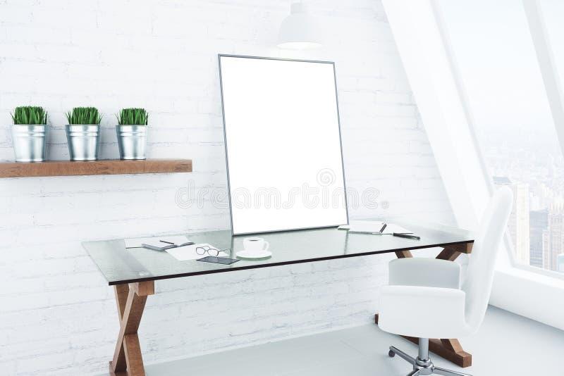 Cornice bianca in bianco sulla tavola vetrosa nello stile bianco moderno royalty illustrazione gratis