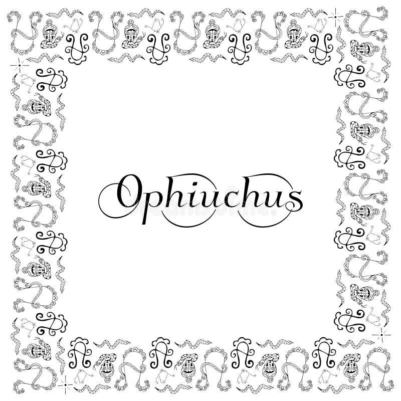 Cornice bianca e nera quadrata con iscrizione Ophiuchus al centro sul tema del segno zodiaco Simbolo grafico a mano d illustrazione vettoriale