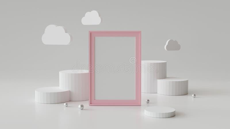 Cornice in bianco con il podio del cilindro Geometrico astratto rappresentazione 3d illustrazione di stock