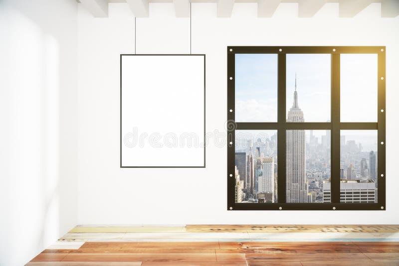 Cornice in bianco sulla parete bianca nella stanza vuota del sottotetto con la città v illustrazione vettoriale