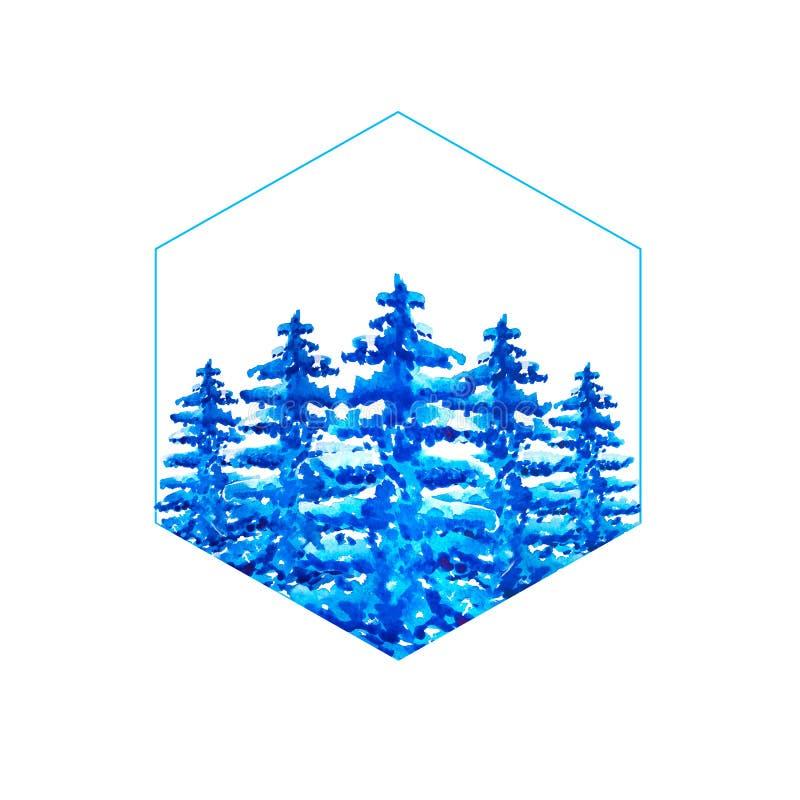 Cornice blu esagonale all'interno della quale è isolata una foresta di conifere blu ad acquerello con neve sulle ramificazioni illustrazione vettoriale