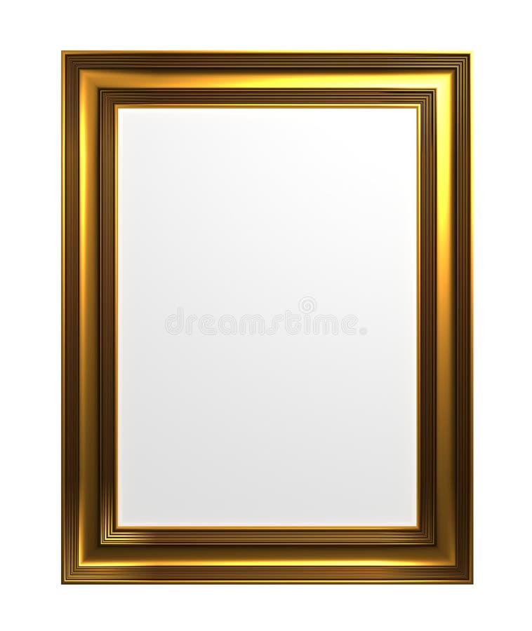 Cornice bronzea metallica isolata su fondo bianco illustrazione 3D illustrazione vettoriale