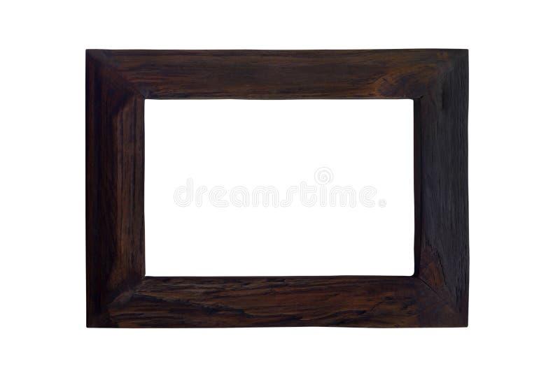 Cornice d'annata di legno nera isolata su fondo bianco immagine stock libera da diritti