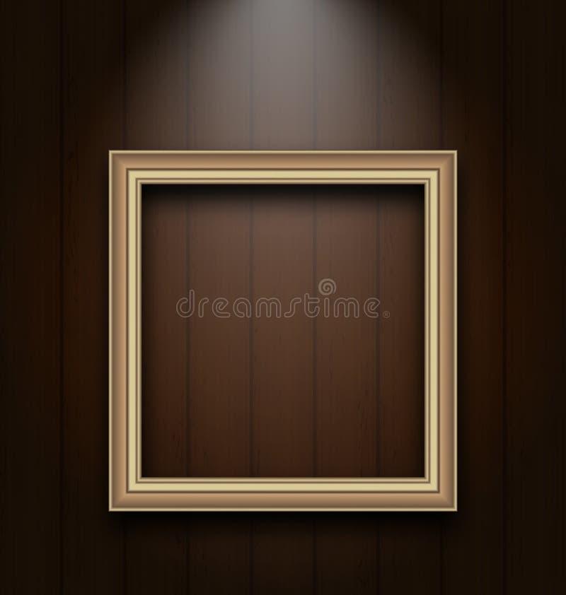 Cornice dell'annata sulla parete di legno illustrazione di stock