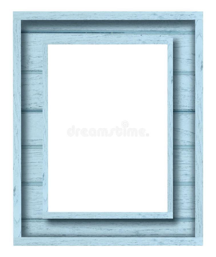 Cornice di legno blu dell'annata fotografia stock libera da diritti
