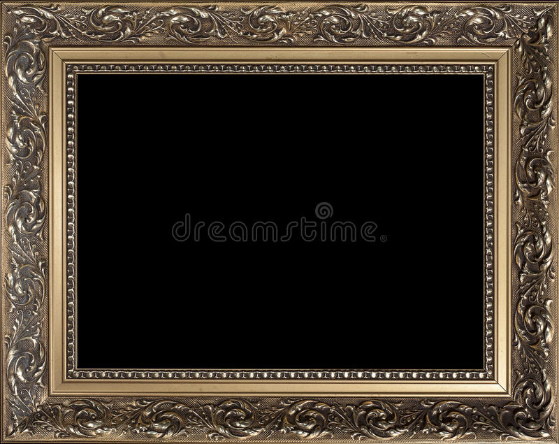 Cornice di legno dorata vuota decorativa immagini stock libere da diritti