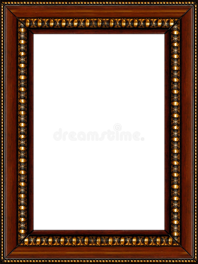 Cornice di legno rustica antica isolata fotografia stock libera da diritti