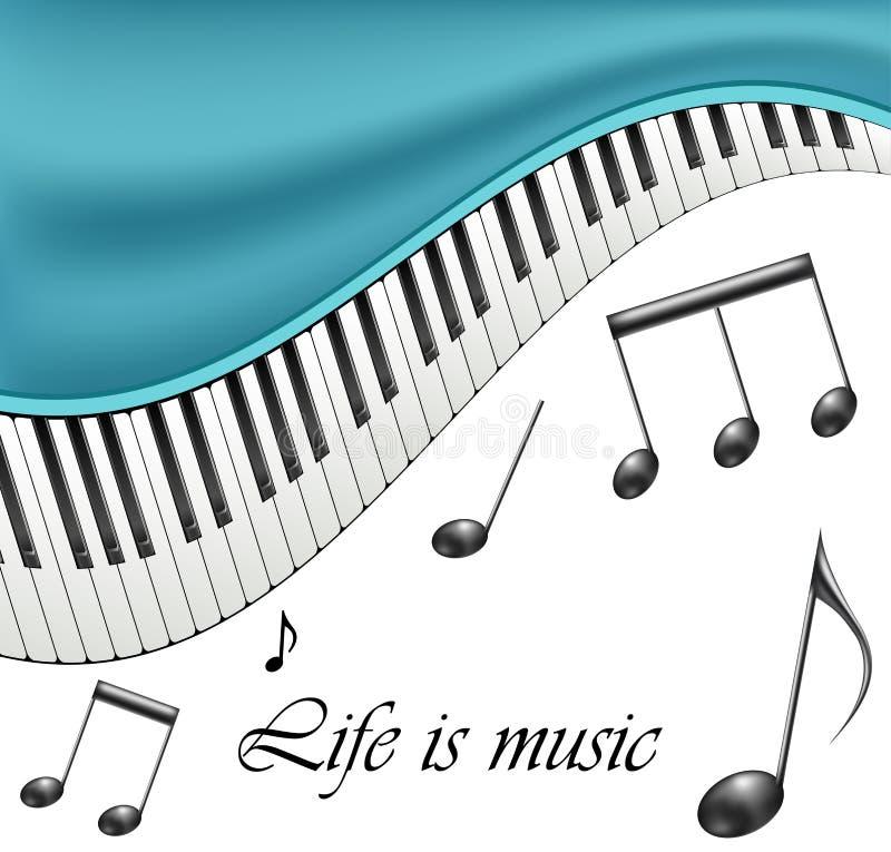 Cornice di testo di musica con le note e le chiavi del piano illustrazione vettoriale
