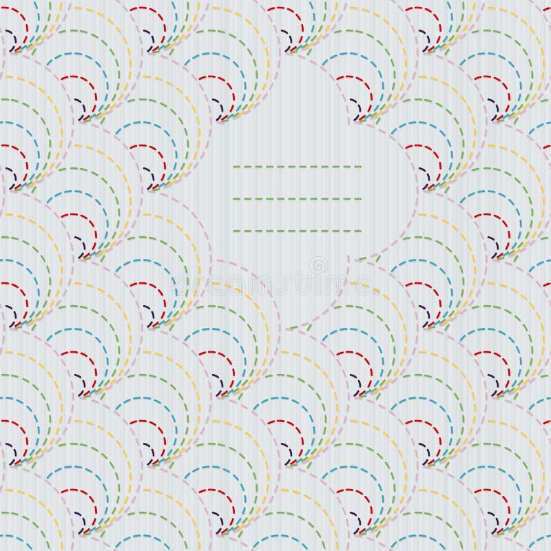 Cornice di testo Ornamento giapponese tradizionale del ricamo con le coperture stilizzate illustrazione vettoriale