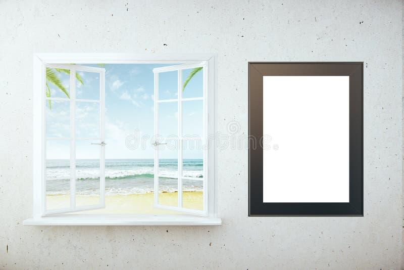 Cornice di vista e della spiaggia illustrazione vettoriale