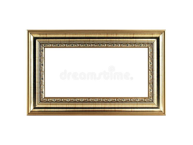 Cornice dorata antica con lo spazio della copia isolato su fondo bianco immagine stock