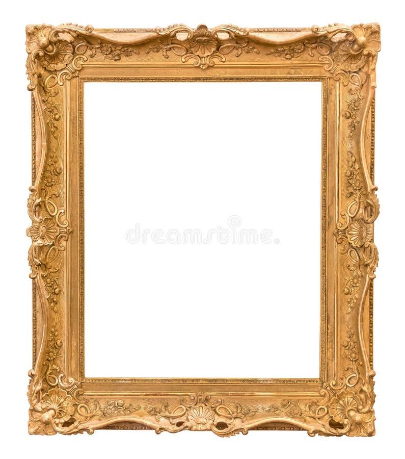 Cornice dorata decorativa di rettangolo fotografia stock libera da diritti