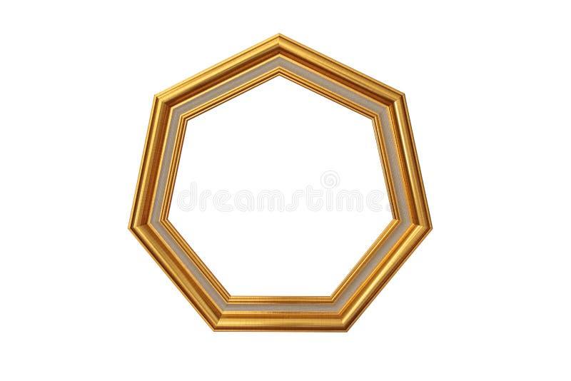 Cornice dorata dell'ettagono immagine stock libera da diritti