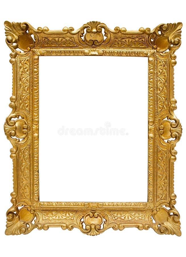 Cornice dorata di plastica con il percorso fotografia stock libera da diritti