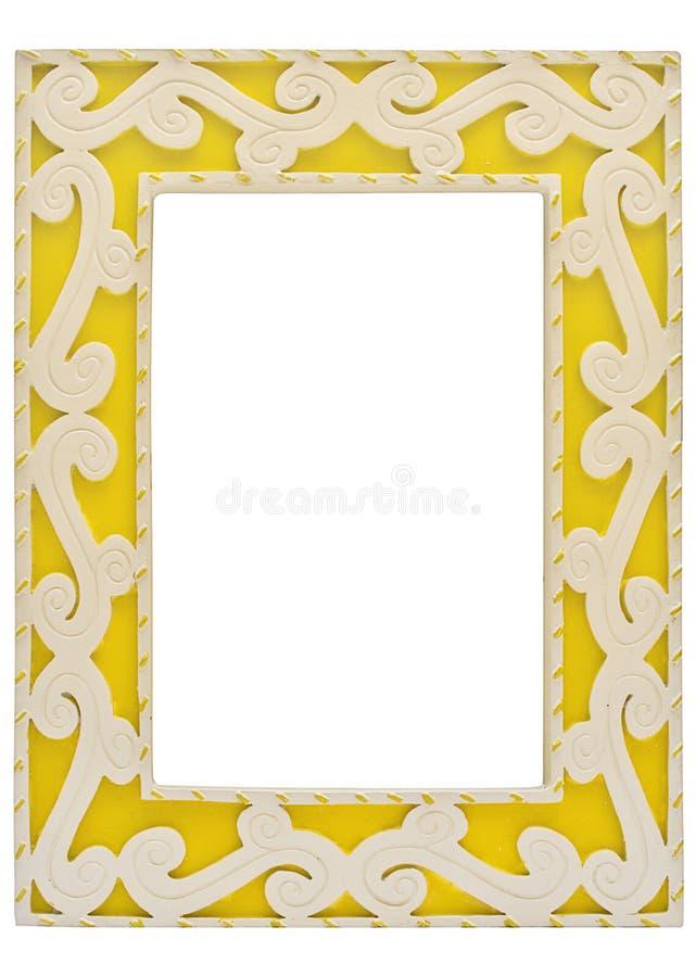 Cornice gialla ornata con il percorso fotografie stock