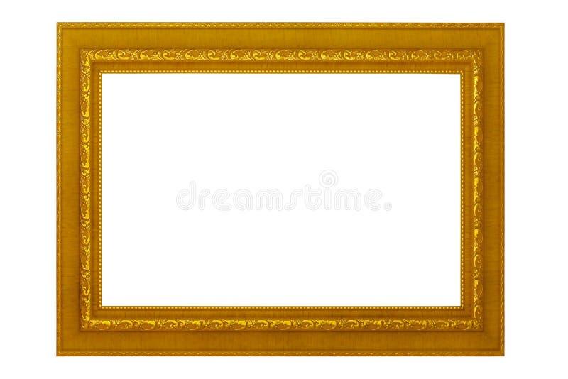Cornice isolata su fondo bianco, struttura dorata antica vuota fotografie stock