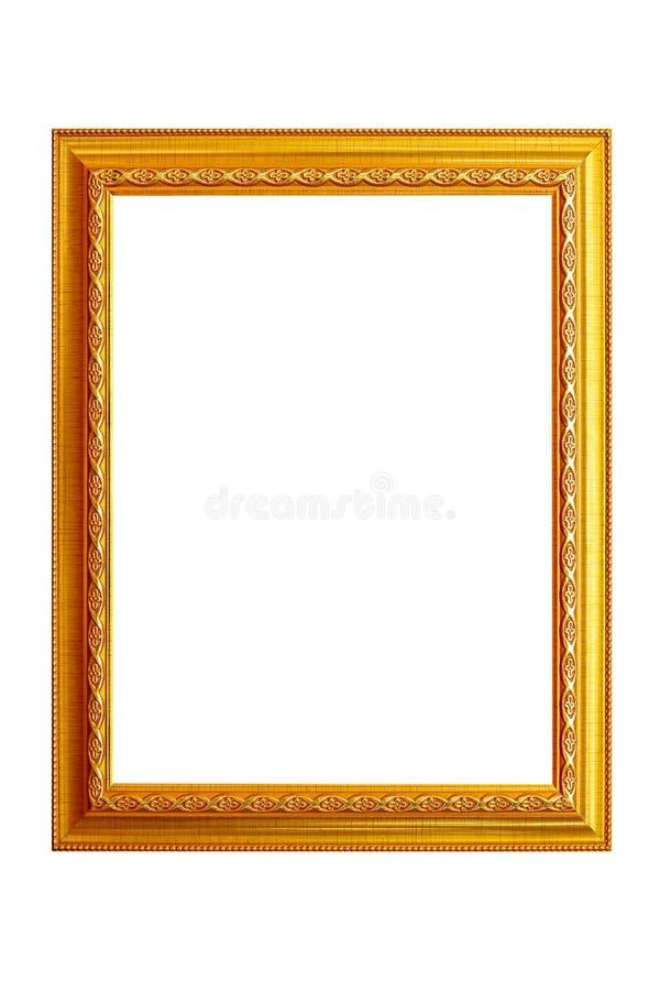 Cornice isolata su fondo bianco, struttura dorata antica vuota fotografia stock