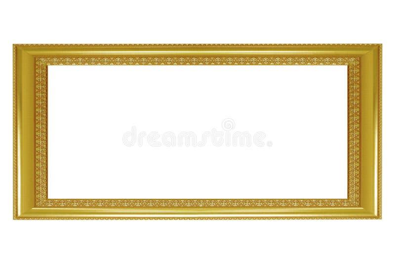 Cornice isolata su fondo bianco, struttura dorata vuota fotografia stock