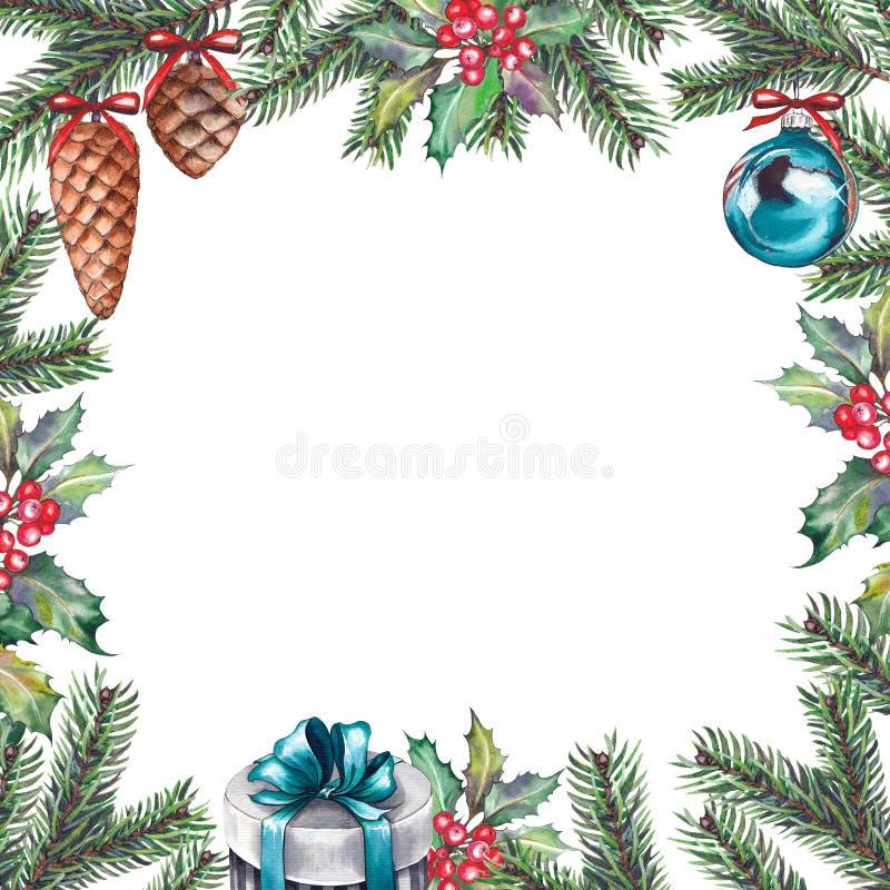 Cornice natalizia con frutti di bosco, pigne, palla di Natale, scatola regalo e ramificazioni illustrazione di stock
