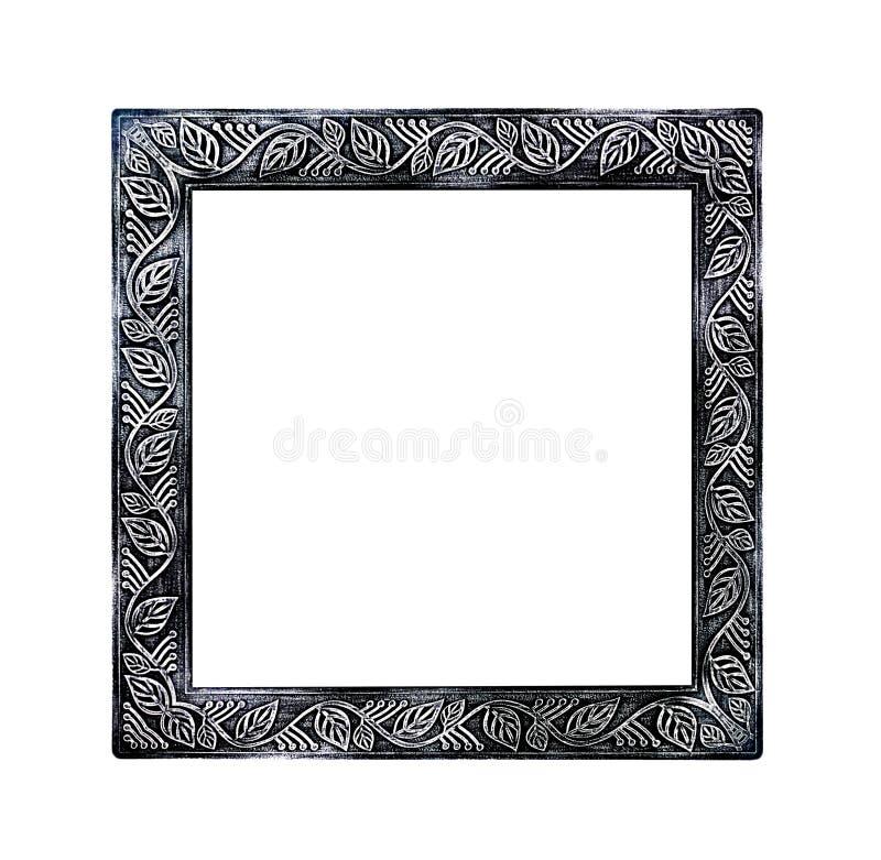 Cornice nera del metallo con le foglie senza cuciture che scolpiscono i modelli isolati su fondo bianco con il percorso di ritagl fotografie stock libere da diritti