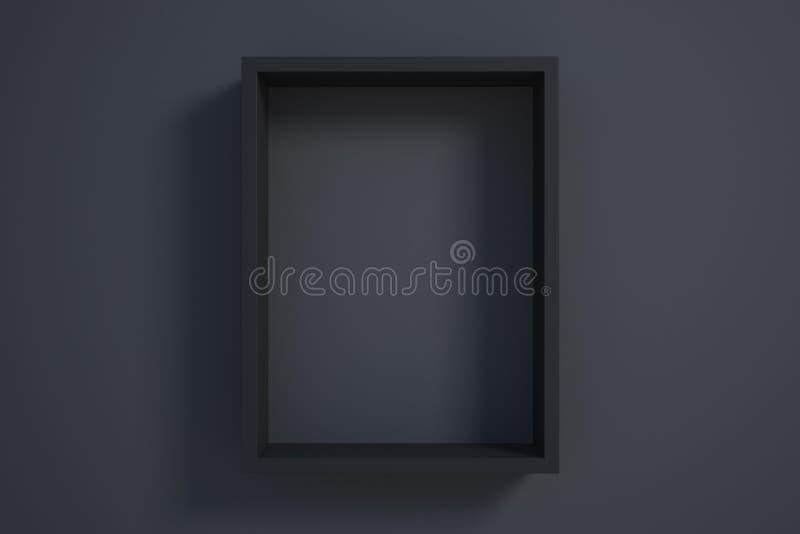 Cornice nera sulla parete nera illustrazione di stock