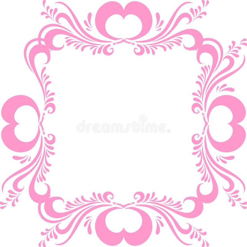 Cornice rosa stilizzata, con il modello decorato e cuori per il San Valentino Pagina per il vettore della foto royalty illustrazione gratis