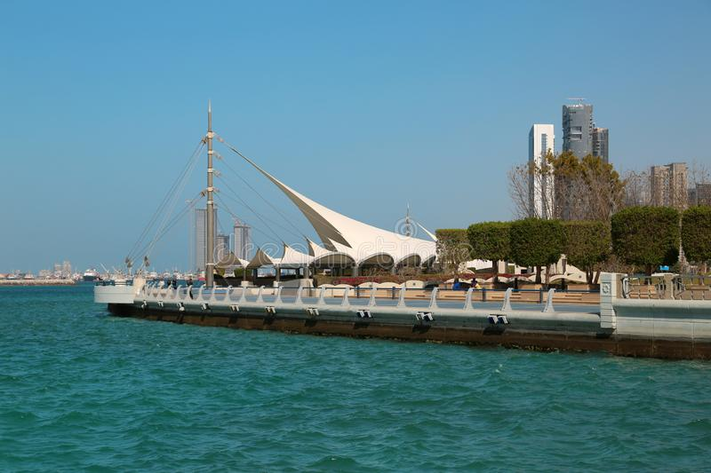 Corniche embankment in Abu Dhabi, United Arab Emirates. Corniche embankment in Abu Dhabi in United Arab Emirates stock photography