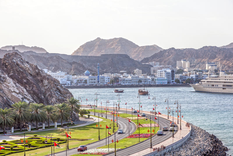 Corniche in Muttrah, Oman stock foto