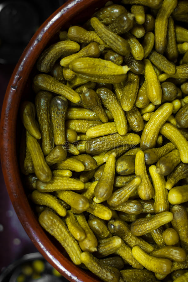 Cornichons marinés dans le pot photo stock