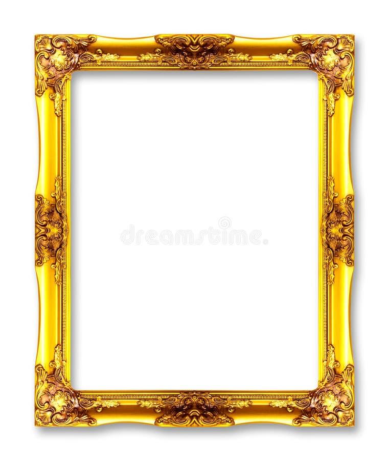 Cornici dell'oro Isolato su bianco fotografia stock