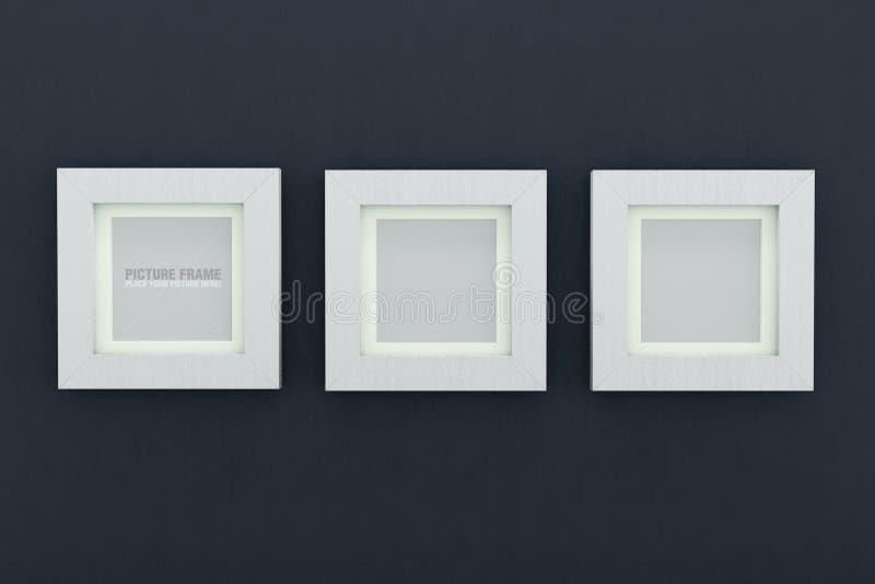 Cornici di legno bianche quadrate illustrazione di stock for Cornici foto bianche
