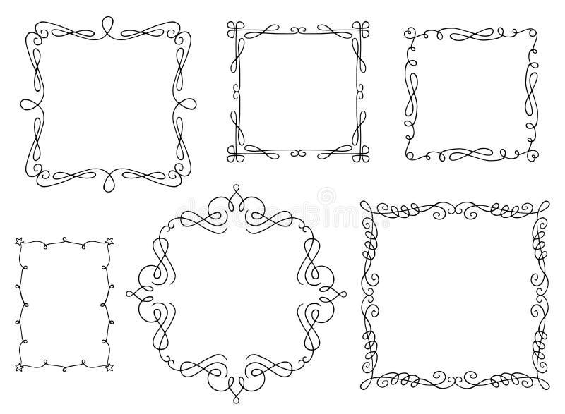 Cornici di testo di Swirly illustrazione di stock