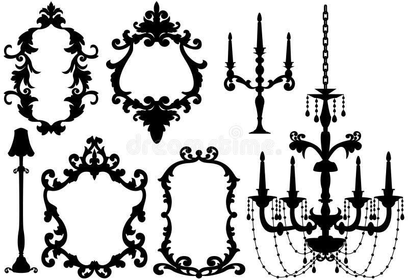 Cornici e lampadario a bracci antichi illustrazione vettoriale