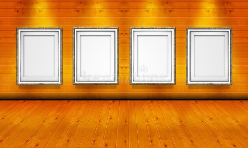 Cornici vuote nella stanza di legno della galleria di arte illustrazione di stock