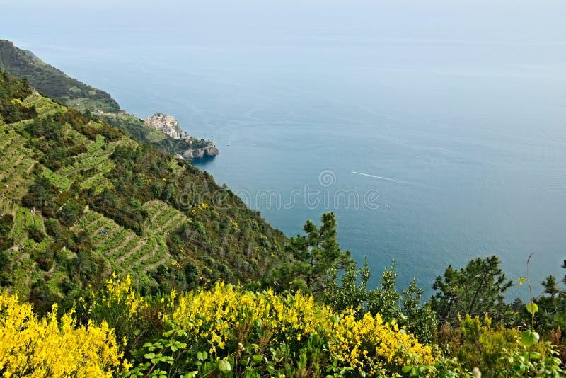 Corniglia aan Cinque Terre Zeegezicht in zonsondergangtijd royalty-vrije stock foto's