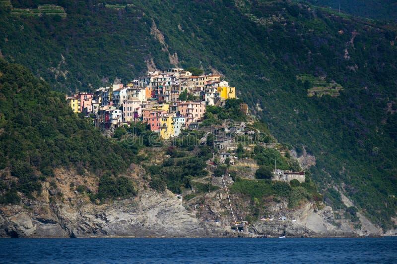 Corniglia, a Cinque Terra mountain village on the Mediterranean sea in Liguria, Italy, copy space royalty free stock photography