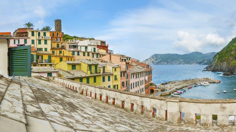 Corniglia Dorf, Cinque Terre, Italien stockfotografie