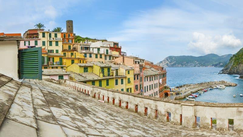 Corniglia Dorf, Cinque Terre, Italien stockfotos