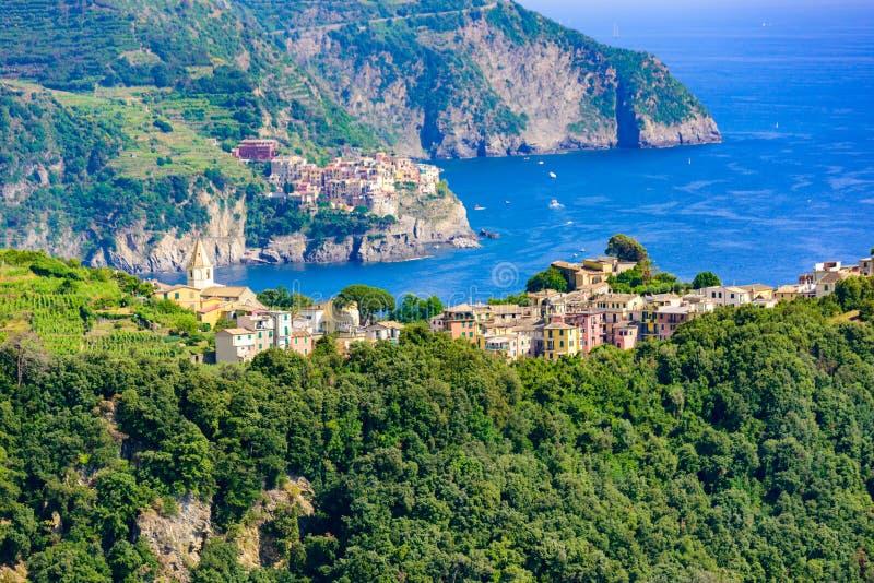 Corniglia - Village of Cinque Terre National Park at Coast of Italy. In the background you can see Manarola. Province of La Spezia stock photos