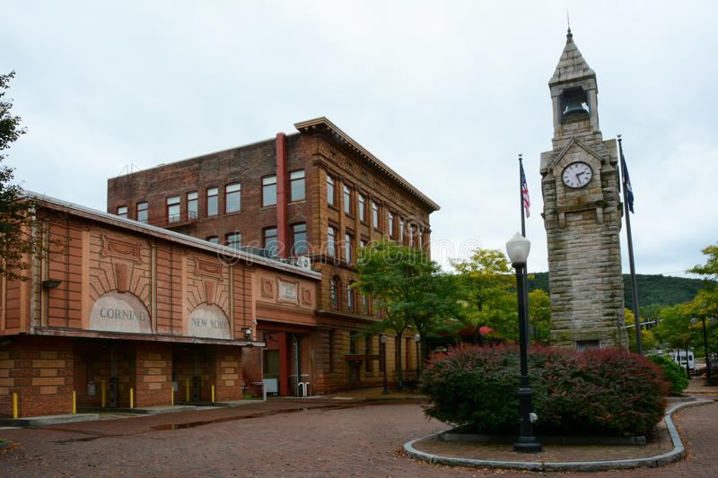 Centerway Square and clock tower, Corning, NY. CORNING, NEW YORK - SEPT 25, 2018: Centerway Square and clock tower, a memorial to Erastus Corning for whom the royalty free stock image