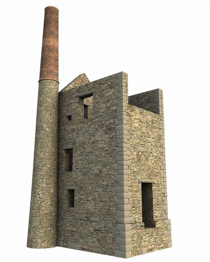 Cornish ορυχείο σπιτιών μηχανών ελεύθερη απεικόνιση δικαιώματος