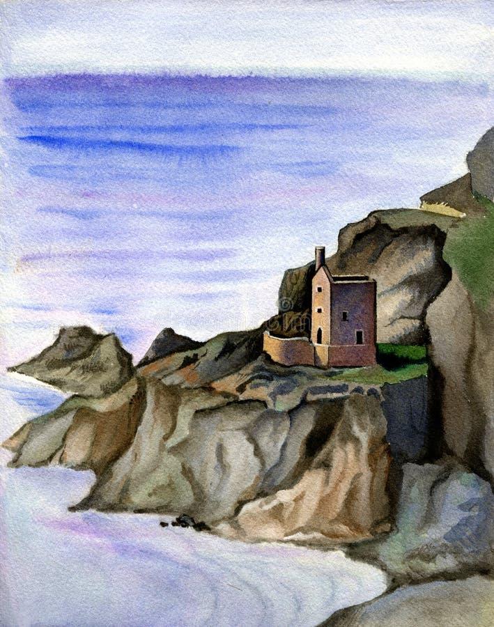 Cornish παλαιό παραδοσιακό ορυχείο κασσίτερου, Αγγλία Συρμένο χέρι τοπίο Watercolor ελεύθερη απεικόνιση δικαιώματος