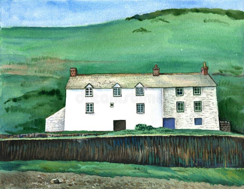 Cornish παραδοσιακό σπίτι, Αγγλία Συρμένο χέρι τοπίο Watercolor διανυσματική απεικόνιση