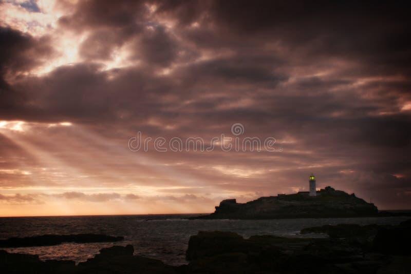 cornish маяк стоковая фотография rf