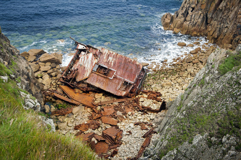 Cornish Coast Lands End wreck royalty free stock photo
