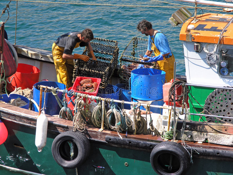 Cornish Fishermen royalty free stock image